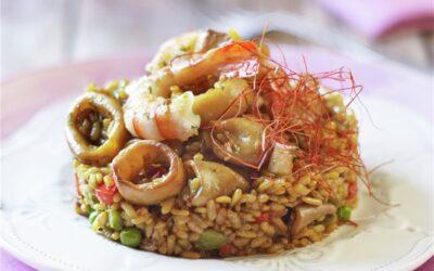 Receta de arroz con calamares y gambas
